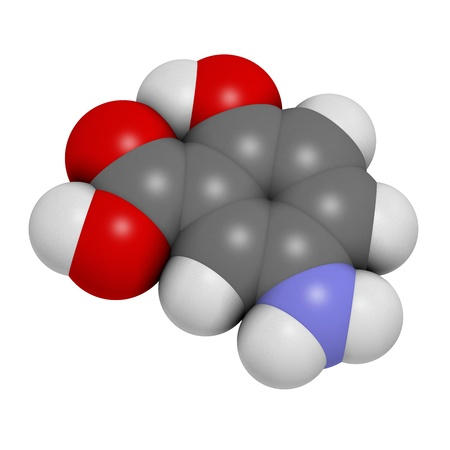colitis: Mesalazine (mesalamine, 5-aminosalicylic acid, 5-ASA) inflammatory bowel disease drug, chemical structure. Used to treat ulcerative colitis and Crohns disease. Atoms are represented as spheres with conventional color coding: hydrogen (white), carbon (gre Stock Photo