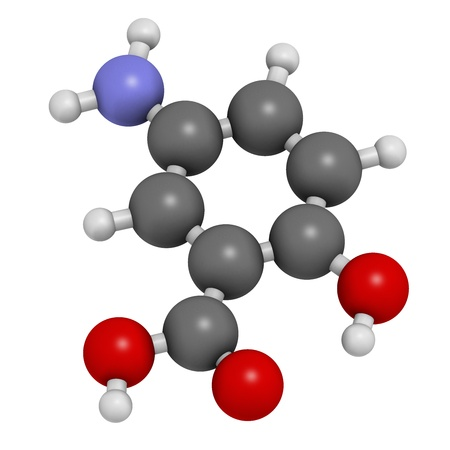 Mesalazine (mesalamine, 5-aminosalicylic acid, 5-ASA) inflammatory bowel disease drug, chemical structure. Used to treat ulcerative colitis and Crohn's disease. Atoms are represented as spheres with conventional color coding: hydrogen (white), carbon (gre Stock Photo - 21514056