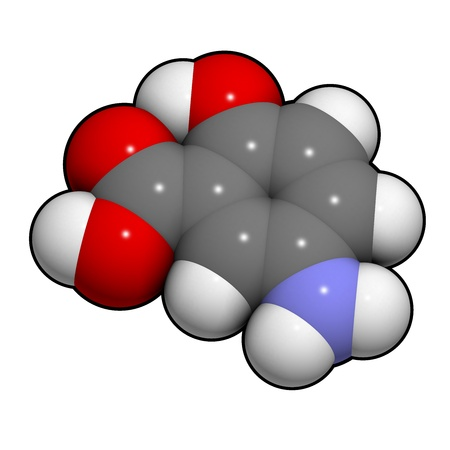 ulcerative: Mesalazine (mesalamine, 5-aminosalicylic acid, 5-ASA) inflammatory bowel disease drug, chemical structure. Used to treat ulcerative colitis and Crohns disease. Atoms are represented as spheres with conventional color coding: hydrogen (white), carbon (gre Stock Photo