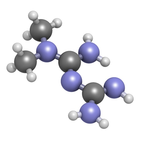 Metformin diabetes drug (biguanide class), chemical structure. Atoms are represented as spheres with conventional color coding: hydrogen (white), carbon (grey), nitrogen (blue) photo