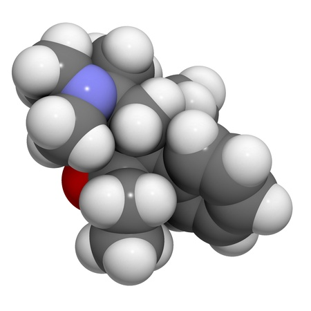 analgesic: Methadone opioid dependency drug, chemical structure. Also used as analgesic. Atoms are represented as spheres with conventional color coding: hydrogen (white), carbon (grey), oxygen (red), nitrogen (blue) Stock Photo