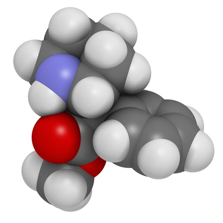 methyl: Methylphenidate attention-deficit hyperactivity disorder (ADHD) drug, chemical structure. Atoms are represented as spheres with conventional color coding: hydrogen (white), carbon (grey), nitrogen (blue), oxygen (red)