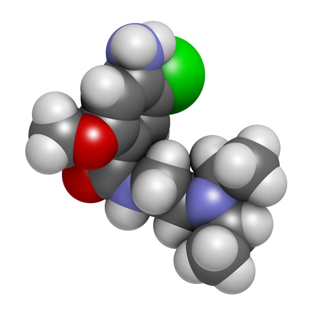 gastroparesis: Metoclopramide nausea and vomiting treatment drug, chemical structure. Atoms are represented as spheres with conventional color coding: hydrogen (white), carbon (grey), oxygen (red), nitrogen (blue), chlorine (green)