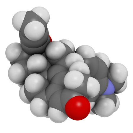 progesterone: Mifepristone abortion inducing drug, chemical structure. Also used as emergency contraceptive agent. Atoms are represented as spheres with conventional color coding: hydrogen (white), carbon (grey), oxygen (red), nitrogen (blue)
