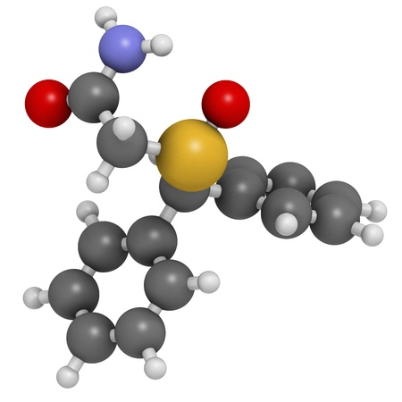 Modafinil wakefulness promoting drug, chemical structure. Used to treat narcolepsy. Atoms are represented as spheres with conventional color coding: hydrogen (white), carbon (grey), nitrogen (blue), oxygen (red), sulfur (yellow) photo