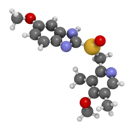 Omeprazole dyspepsia and peptic ulcer disease drug (proton pump inhibitor), chemical structure.  Atoms are represented as spheres with conventional color coding: hydrogen (white), carbon (grey), oxygen (red), nitrogen (blue), sulfur (yellow)