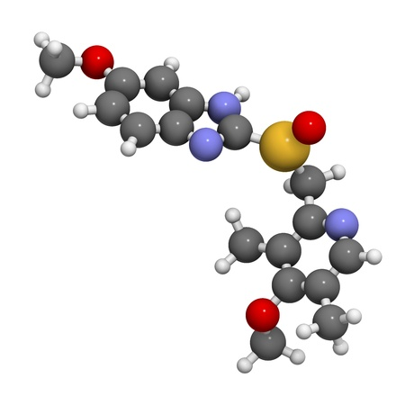 nitrogen: Omeprazole dyspepsia and peptic ulcer disease drug (proton pump inhibitor), chemical structure.  Atoms are represented as spheres with conventional color coding: hydrogen (white), carbon (grey), oxygen (red), nitrogen (blue), sulfur (yellow)