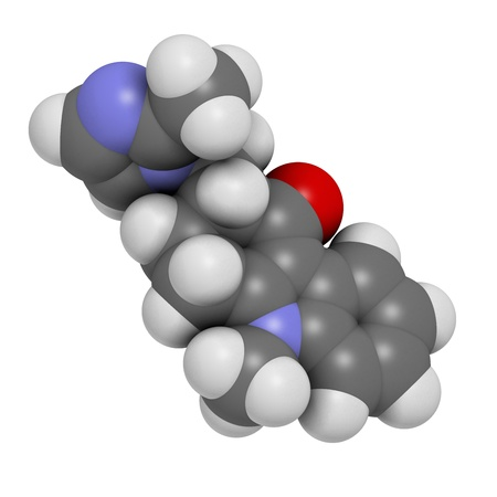 obsessive compulsive: Ondansetron nausea and vomiting treatment drug, chemical structure. Atoms are represented as spheres with conventional color coding: hydrogen (white), carbon (grey), oxygen (red), nitrogen (blue)