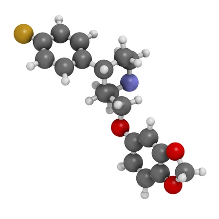 premenstrual: Paroxetine antidepressant drug (SSRI class), chemical structure. Atoms are represented as spheres with conventional color coding: hydrogen (white), carbon (grey), nitrogen (blue), oxygen (red), fluorine (gold)