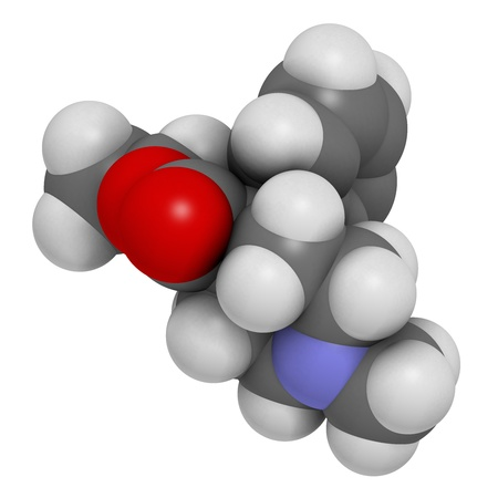 analgesic: Pethidine opioid analgesic drug, chemical structure. Atoms are represented as spheres with conventional color coding: hydrogen (white), carbon (grey), oxygen (red), nitrogen (blue)