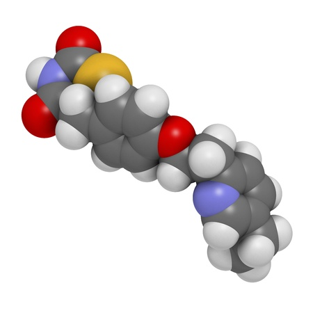 antidiabetic: Pioglitazone diabetes drug, chemical structure. Atoms are represented as spheres with conventional color coding: hydrogen (white), carbon (grey), oxygen (red), nitrogen (blue), sulfur (yellow)