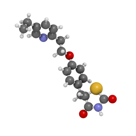 Pioglitazone diabetes drug, chemical structure. Atoms are represented as spheres with conventional color coding: hydrogen (white), carbon (grey), oxygen (red), nitrogen (blue), sulfur (yellow) Stock Photo - 21514115