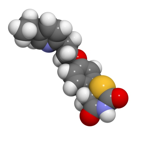 hypoglycemic: Pioglitazone diabetes drug, chemical structure. Atoms are represented as spheres with conventional color coding: hydrogen (white), carbon (grey), oxygen (red), nitrogen (blue), sulfur (yellow)