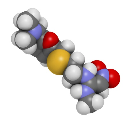 Ranitidine peptic ulcer disease drug, chemical structure. Blocks stomach acid production. Atoms are represented as spheres with conventional color coding: hydrogen (white), carbon (grey), oxygen (red), nitrogen (blue), sulfur (yellow) photo