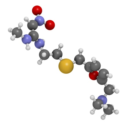 Ranitidine peptic ulcer disease drug, chemical structure. Blocks stomach acid production. Atoms are represented as spheres with conventional color coding: hydrogen (white), carbon (grey), oxygen (red), nitrogen (blue), sulfur (yellow)