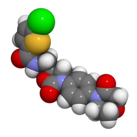 embolism: Rivaroxaban anticoagulant drug (direct factor Xa inhibitor), chemical structure. Atoms are represented as spheres with conventional color coding: hydrogen (white), carbon (grey), oxygen (red), nitrogen (blue), sulfur (yellow), chlorine (green)