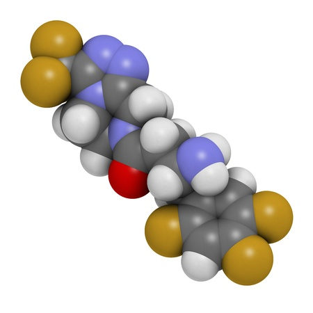 antidiabetic: Sitagliptin diabetes drug, chemical structure. Atoms are represented as spheres with conventional color coding: hydrogen (white), carbon (grey), oxygen (red), nitrogen (blue), fluorine (gold) Stock Photo
