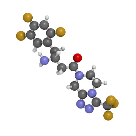 hypoglycemic: Sitagliptin diabetes drug, chemical structure. Atoms are represented as spheres with conventional color coding: hydrogen (white), carbon (grey), oxygen (red), nitrogen (blue), fluorine (gold) Stock Photo
