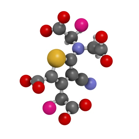strontium: Strontium ranelate osteoporosis drug, chemical structure. Atoms are represented as spheres with conventional color coding: hydrogen (white), carbon (grey), oxygen (red), nitrogen (blue), sulfur (yellow), strontium (magenta) Stock Photo