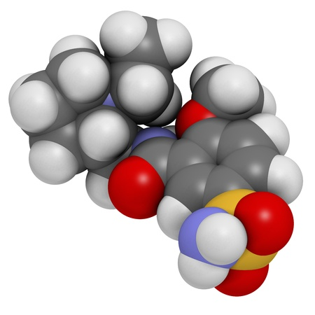 delirium: Sulpiride antipsychotic (neuroleptic) drug, chemical structure. Atoms are represented as spheres with conventional color coding: hydrogen (white), carbon (grey), nitrogen (blue), oxygen (red), sulfur (yellow) Stock Photo