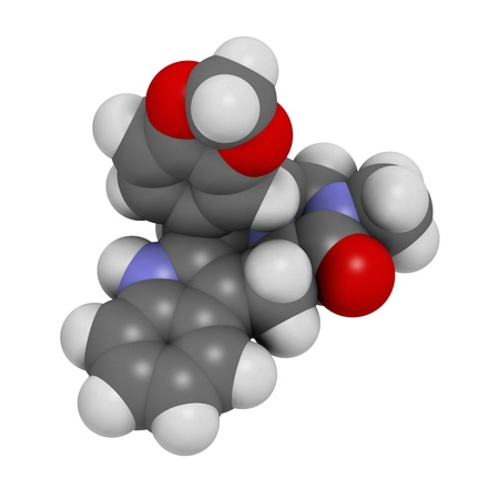 urologist: Tadalafil erectile dysfunction drug, chemical structure. Atoms are represented as spheres with conventional color coding: hydrogen (white), carbon (grey), oxygen (red), nitrogen (blue)