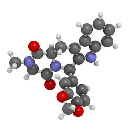 prostatic: Tadalafil erectile dysfunction drug, chemical structure. Atoms are represented as spheres with conventional color coding: hydrogen (white), carbon (grey), oxygen (red), nitrogen (blue)