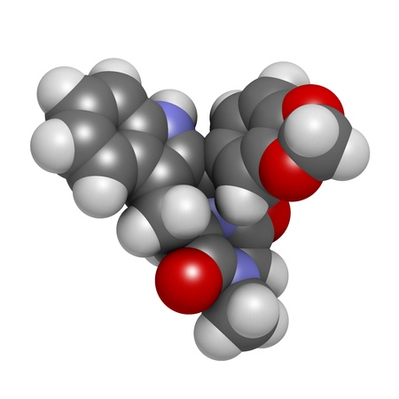 Tadalafil erectile dysfunction drug, chemical structure. Atoms are represented as spheres with conventional color coding: hydrogen (white), carbon (grey), oxygen (red), nitrogen (blue) photo