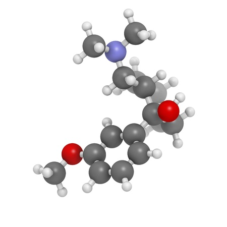 analgesic: Tramadol opioid analgesic drug, chemical structure. Atoms are represented as spheres with conventional color coding: hydrogen (white), carbon (grey), oxygen (red), nitrogen (blue)