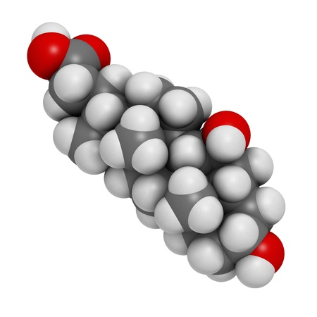 Ursodiol (ursodeoxycholic acid, UDCA) gallstone treatment drug, chemical structure. Atoms are represented as spheres with conventional color coding: hydrogen (white), carbon (grey), oxygen (red) Stock Photo - 21514173