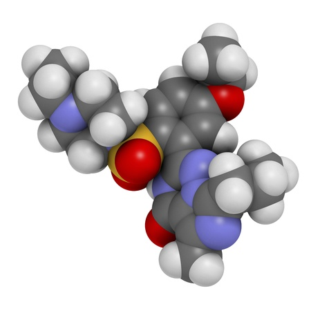 sulphur: Vardenafil erectile dysfunction drug, chemical structure. Atoms are represented as spheres with conventional color coding: hydrogen (white), carbon (grey), oxygen (red), nitrogen (blue), sulfur (yellow)