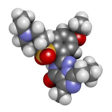 Vardenafil erectile dysfunction drug, chemical structure. Atoms are represented as spheres with conventional color coding: hydrogen (white), carbon (grey), oxygen (red), nitrogen (blue), sulfur (yellow) Stock Photo - 21514181