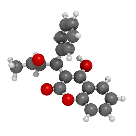 anticoagulant: Warfarin anticoagulant drug, chemical structure. Used in thrombosis and thromboembolism prevention. Atoms are represented as spheres with conventional color coding: hydrogen (white), carbon (grey), oxygen (red) Stock Photo