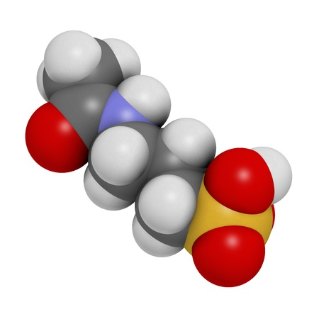 abstinence: Acamprosate alcoholism treatment drug, chemical structure. Atoms are represented as spheres with conventional color coding: hydrogen (white), carbon (grey), nitrogen (blue), oxygen (red), sulfur (yellow)