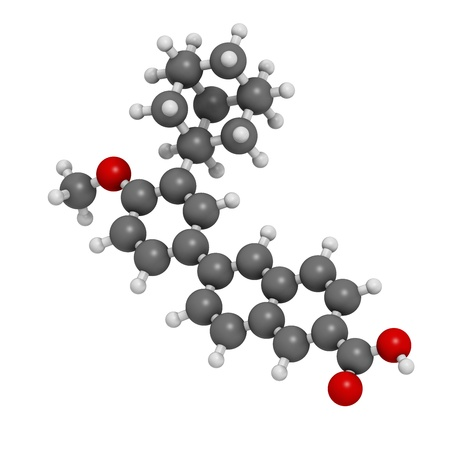 Adapalene acne treatment drug, chemical structure. Atoms are represented as spheres with conventional color coding: hydrogen (white), carbon (grey), oxygen (red). Stock Photo