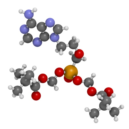 Adefovir dipivoxil hepatitis B and herpes simplex virus (HSV) drug, chemical structure. Atoms are represented as spheres with conventional color coding: hydrogen (white), carbon (grey), nitrogen (blue), oxygen (red), phosphorus (orange). Stock Photo - 21663123