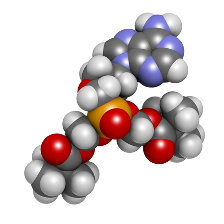 Adefovir dipivoxil hepatitis B and herpes simplex virus (HSV) drug, chemical structure. Atoms are represented as spheres with conventional color coding: hydrogen (white), carbon (grey), nitrogen (blue), oxygen (red), phosphorus (orange). photo