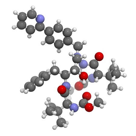 protease: Atazanavir HIV drug (protease inhibitor class), chemical structure. Atoms are represented as spheres with conventional color coding: hydrogen (white), carbon (grey), nitrogen (blue), oxygen (red).