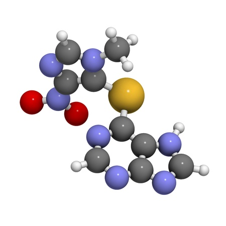 Azathioprine immunosuppressive drug, chemical structure. Used to prevent transplant rejection and in treatment of autoimmune disease. Atoms are represented as spheres with conventional color coding: hydrogen (white), carbon (grey), nitrogen (blue), oxygen