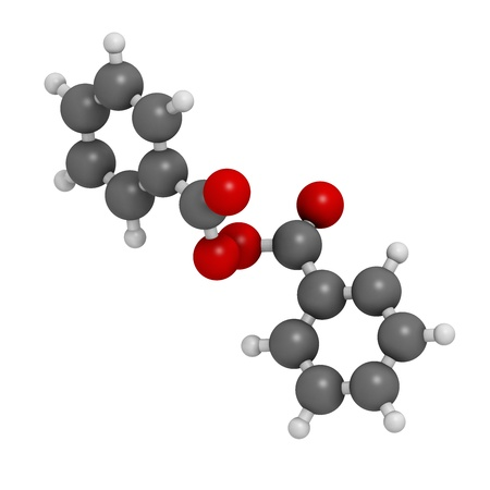 benzoic: Benzoyl peroxide acne treatment drug, chemical structure. Also used to dye hair and whiten teeth (bleaching). Atoms are represented as spheres with conventional color coding: hydrogen (white), carbon (grey), oxygen (red).