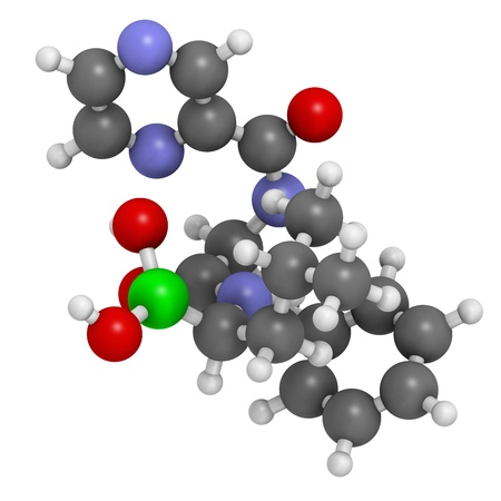 boron: Bortezomib cancer drug (proteasome inhibitor), chemical structure. Atoms are represented as spheres with conventional color coding: hydrogen (white), carbon (grey), nitrogen (blue), oxygen (red), boron (green).