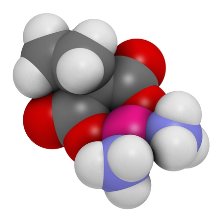 chemotherapeutic: Carboplatin cancer chemotherapy drug, chemical structure. Atoms are represented as spheres with conventional color coding: hydrogen (white), carbon (grey), nitrogen (blue), oxygen (red), platinum (magenta).