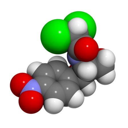 bacteriostatic: Chloramphenicol antibiotic drug, chemical structure. Atoms are represented as spheres with conventional color coding: hydrogen (white), carbon (grey), nitrogen (blue), oxygen (red), chlorine (green).