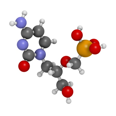 Cidofovir cytomegalovirus (CMV, HCMV) drug, chemical structure. Can probably also be used against smallpox infection. Atoms are represented as spheres with conventional color coding: hydrogen (white), carbon (grey), nitrogen (blue), oxygen (red), phosphor Imagens - 21663160
