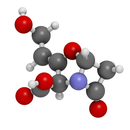 Clavulanic acid beta-lactamase blocker drug, chemical structure. Often combined with beta-lactam class antibiotics. Atoms are represented as spheres with conventional color coding: hydrogen (white), carbon (grey), nitrogen (blue), oxygen (red). photo