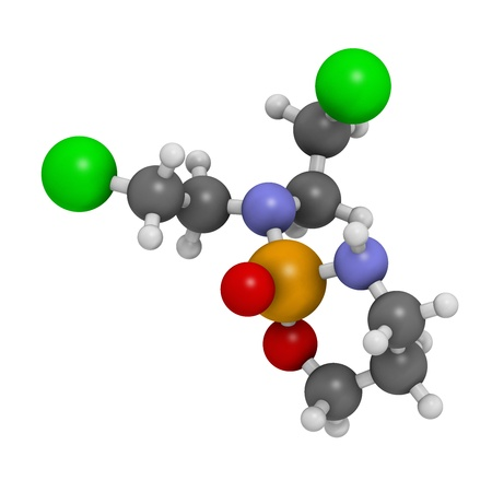 belongs: Cyclophosphamide cancer chemotherapy drug, chemical structure. Belongs to nitrogen mustard alkylating agents class of cancer drugs. Atoms are represented as spheres with conventional color coding: hydrogen (white), carbon (grey), nitrogen (blue), oxygen (