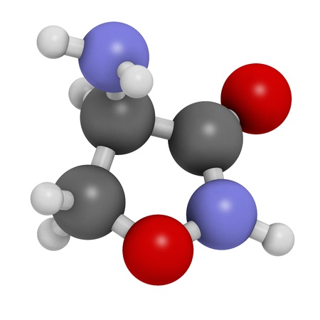 glycine: Cycloserine (D-cycloserine) tuberculosis drug, chemical structure. Atoms are represented as spheres with conventional color coding: hydrogen (white), carbon (grey), nitrogen (blue), oxygen (red). Stock Photo