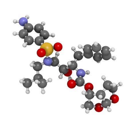 protease: Darunavir HIV drug (protease inhibitor class), chemical structure. Atoms are represented as spheres with conventional color coding: hydrogen (white), carbon (grey), nitrogen (blue), oxygen (red), sulfur (yellow).
