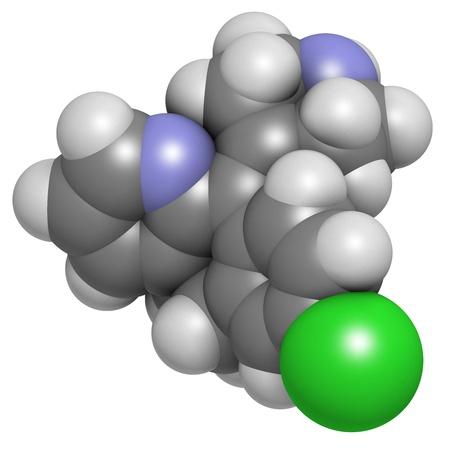 pokrzywka: Lek przeciwhistaminowy Desloratadine, struktura chemiczna. Stosowany w leczeniu gorączki, siano pokrzywkę i alergie. Atomy są reprezentowane jako kule z konwencjonalnymi kodowania kolorów: wodór (biały), węgla (szary), azotu (niebieski), tlen (czerwony), chlorem (zielony). Zdjęcie Seryjne