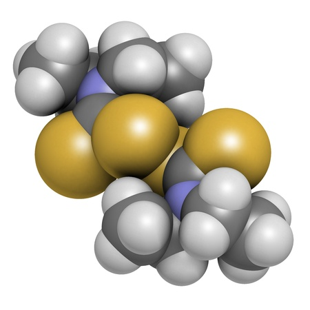 giardia: Disulfiram alcoholism treatment drug, chemical structure. Atoms are represented as spheres with conventional color coding: hydrogen (white), carbon (grey), nitrogen (blue), sulfur (yellow)