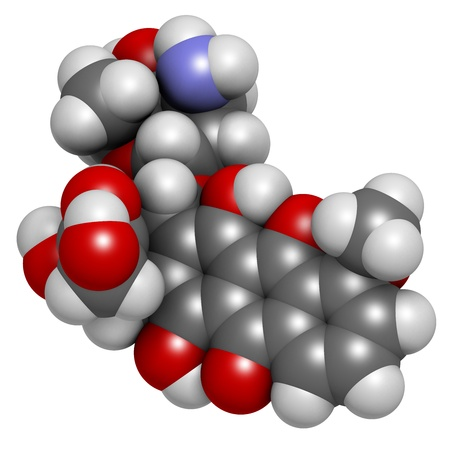 sarcoma: Doxorubicin cancer chemotherapy drug, chemical structure. Atoms are represented as spheres with conventional color coding: hydrogen (white), carbon (grey), nitrogen (blue), oxygen (red). Stock Photo
